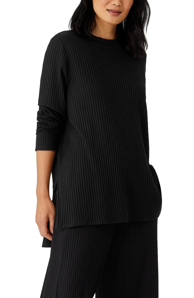 EILEEN FISHER Ribbed Organic Cotton Tunic, Main, color, 001