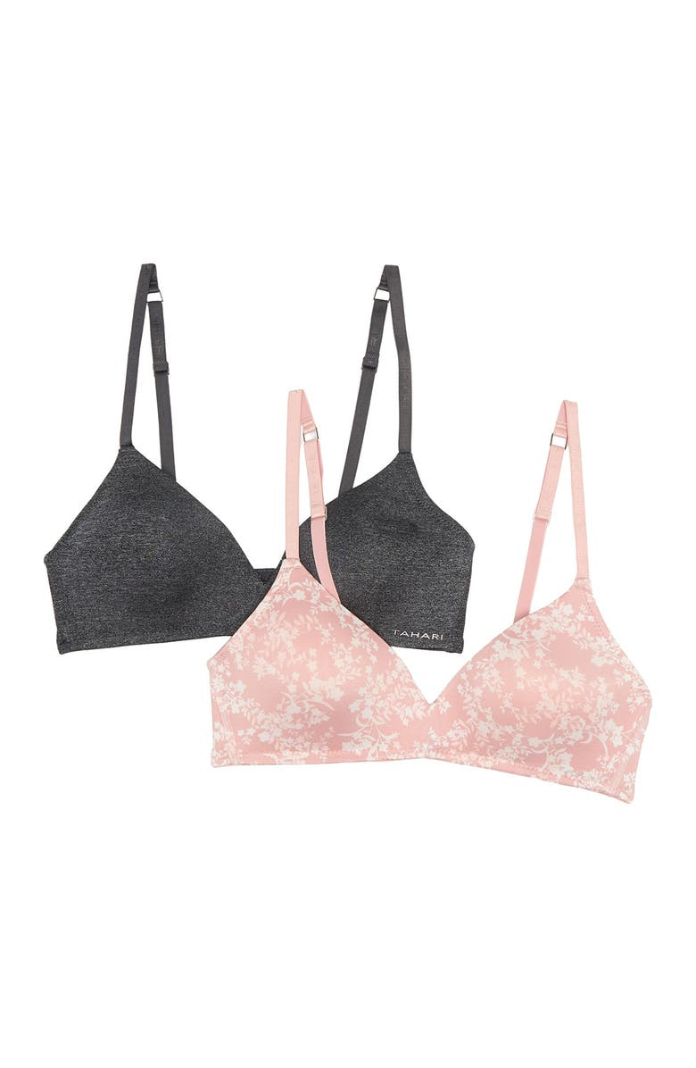 TAHARI Wirefree Molded Cup Bra (B-C Cups) - Pack of 2, Main, color, NUDE BLACK COMBO
