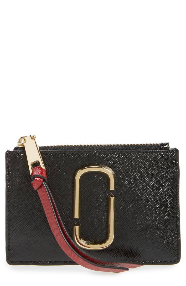 MARC JACOBS Snapshot Leather ID Wallet, Main, color, BLACK/ CHIANTI