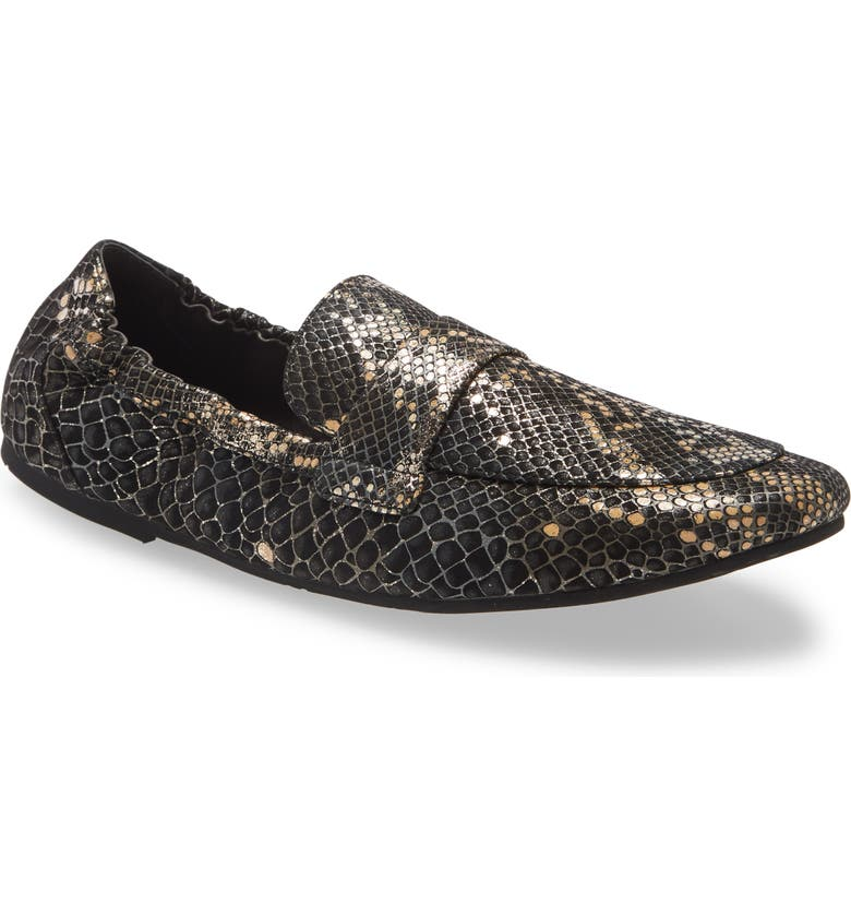 CHOCOLAT BLU Ida Loafer, Main, color, BLACK GOLD EMBOSSED SNAKE