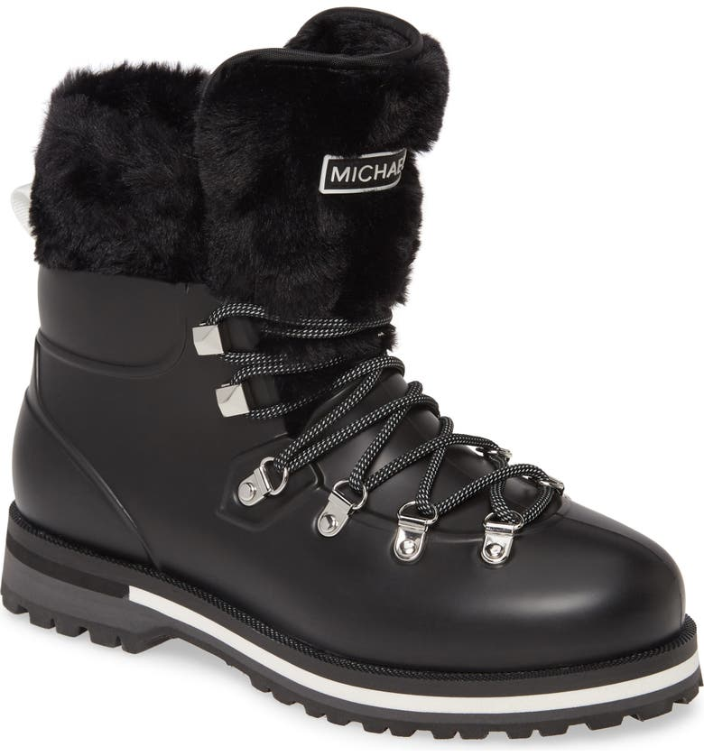 MICHAEL MICHAEL KORS Lanis Faux Fur Trim Waterproof Lace-Up Boot, Main, color, 001
