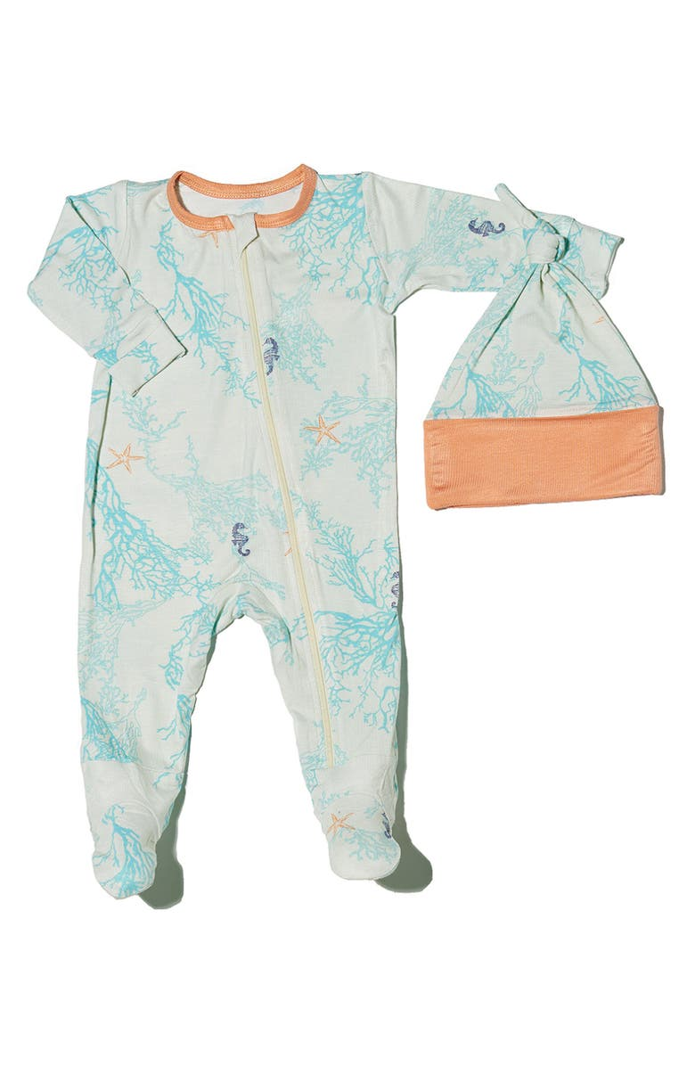 BABY GREY BY EVERLY GREY Seahorse Print Footie & Hat Set, Main, color, 400