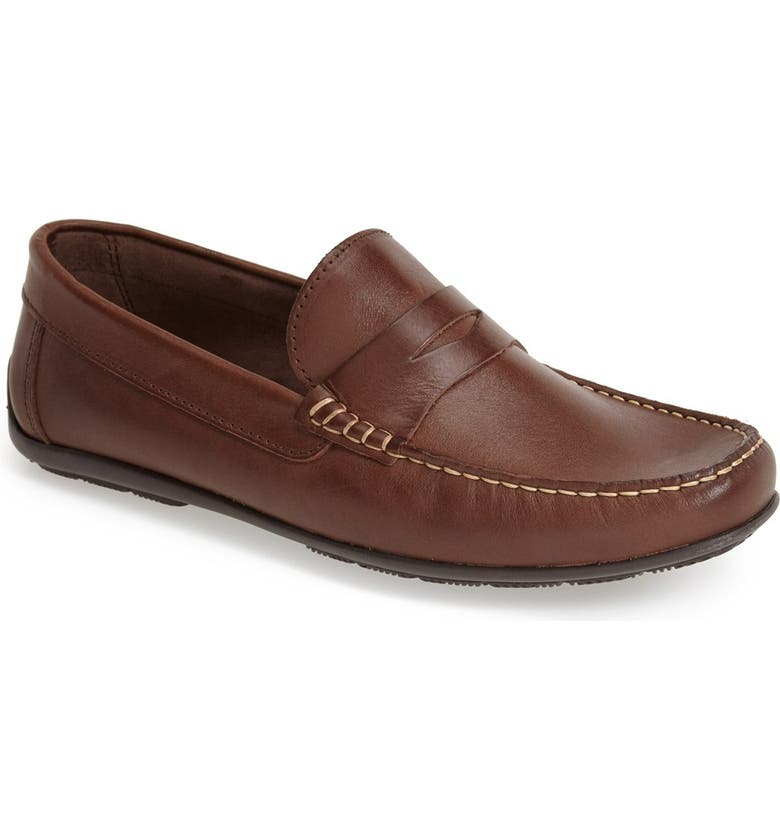 SANDRO MOSCOLONI 'Paris' Leather Penny Loafer, Main, color, BROWN