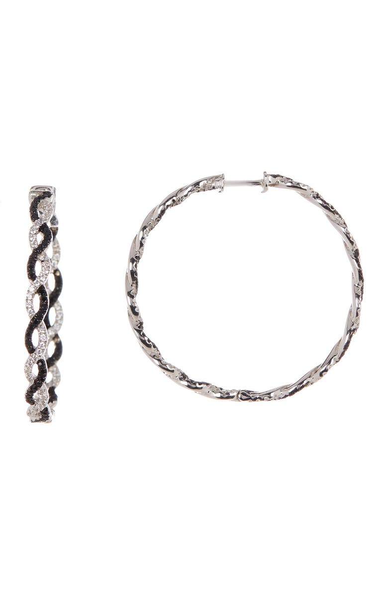 SUZY LEVIAN Sterling Silver Black & White CZ Twisted Hoop Earrings, Main, color, BLACK