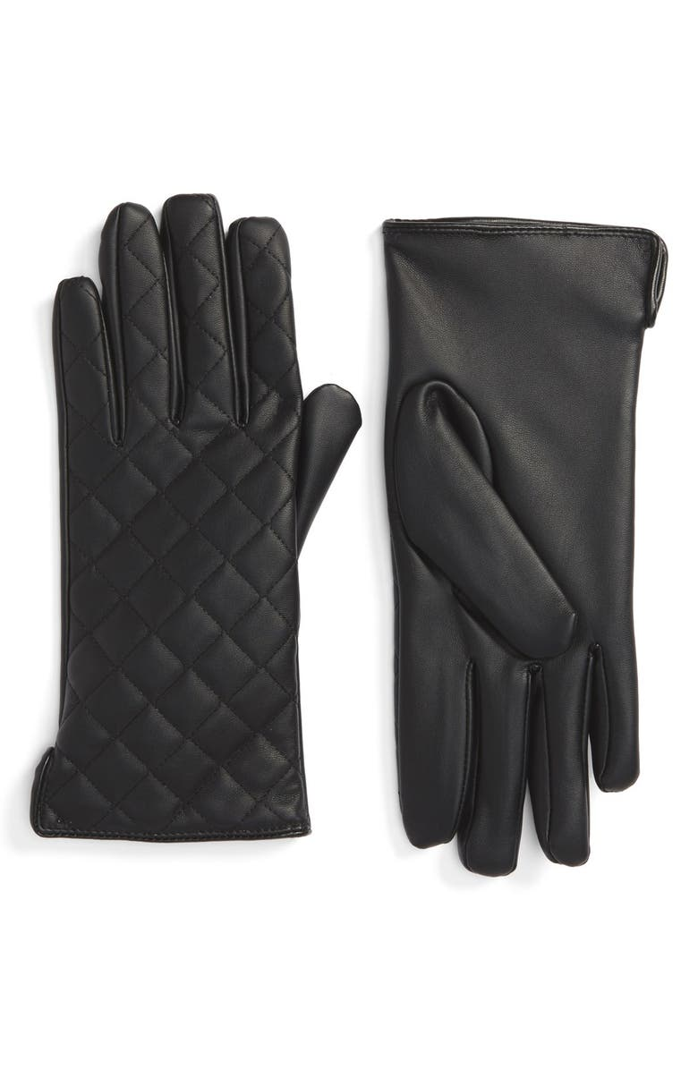 BP. Quilted Faux Leather Gloves, Main, color, Black