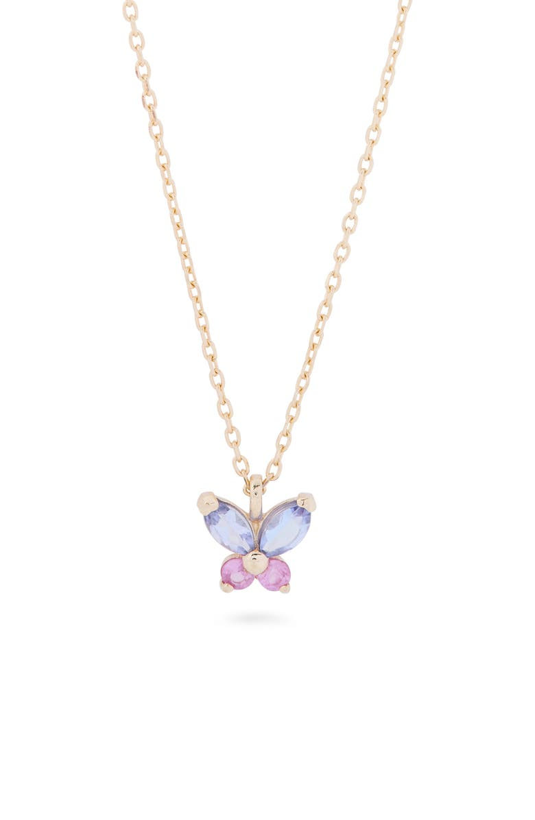 STONE AND STRAND Pastel Sapphire Butterfly Pendant Necklace, Main, color, 10K YG - PINK SAPPHIRE/ TANZ