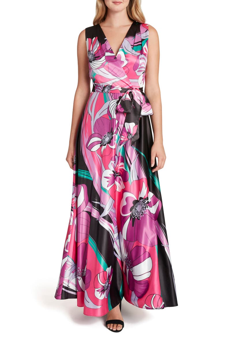 TAHARI Retro Floral Maxi Dress, Main, color, BLACK CORAL FLORAL
