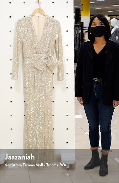 Sequin Wrap Front Long Sleeve Gown, sales video thumbnail