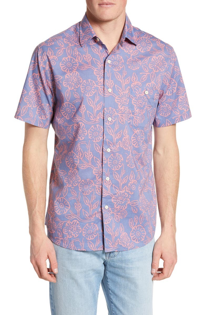 FAHERTY BRAND Printed Regular Fit Woven Shirt, Main, color, PINK POPPY