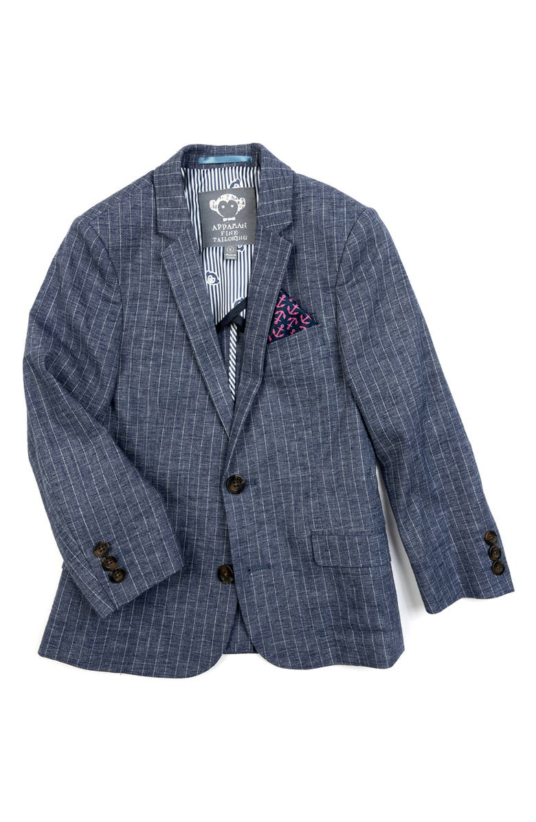 APPAMAN Kids' Sport Coat, Main, color, CHAMBRAY STRIPE