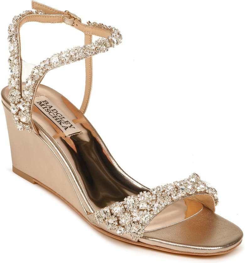 BADGLEY MISCHKA COLLECTION Gali Wedge Sandal, Main, color, CHAMPAGNE NAPPA LEATHER