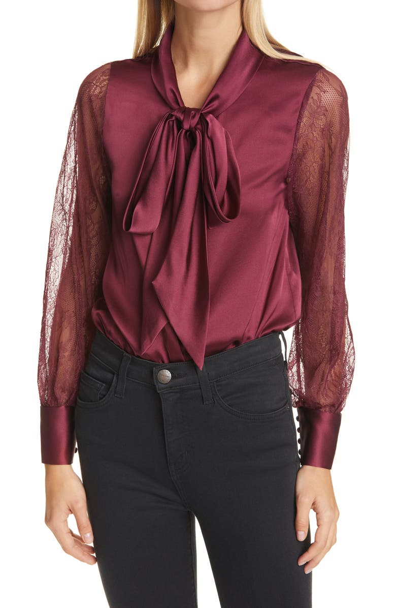 CAMI NYC Camberlyn Lace Sleeve Tie Neck Silk Blouse, Main, color, CABERNET