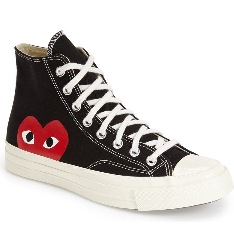 COMME DES GARÇONS PLAY x Converse Chuck Taylor<sup>®</sup> - Hidden Heart High Top Sneaker, Main, color, BLACK
