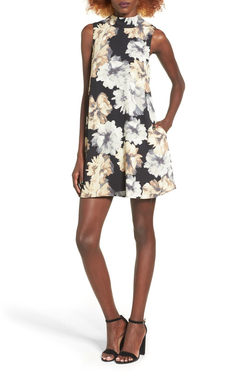 MIMI CHICA Floral Print Shift Dress, Main, color, BLACK/ TAUPE/ GRAY FLORAL