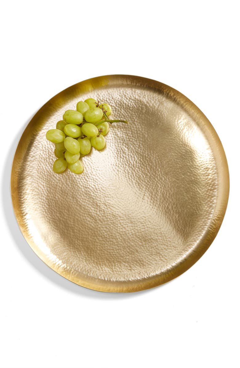 NORDSTROM at Home Large Hammered Metal Round Tray, Main, color, 710