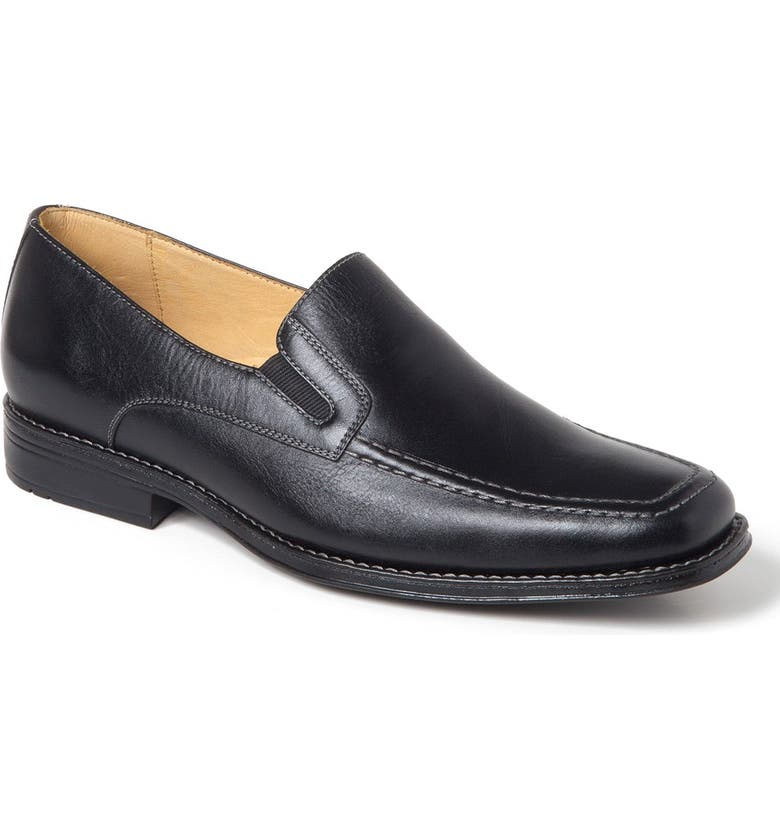 SANDRO MOSCOLONI Marc Venetian Loafer, Main, color, BLACK LEATHER