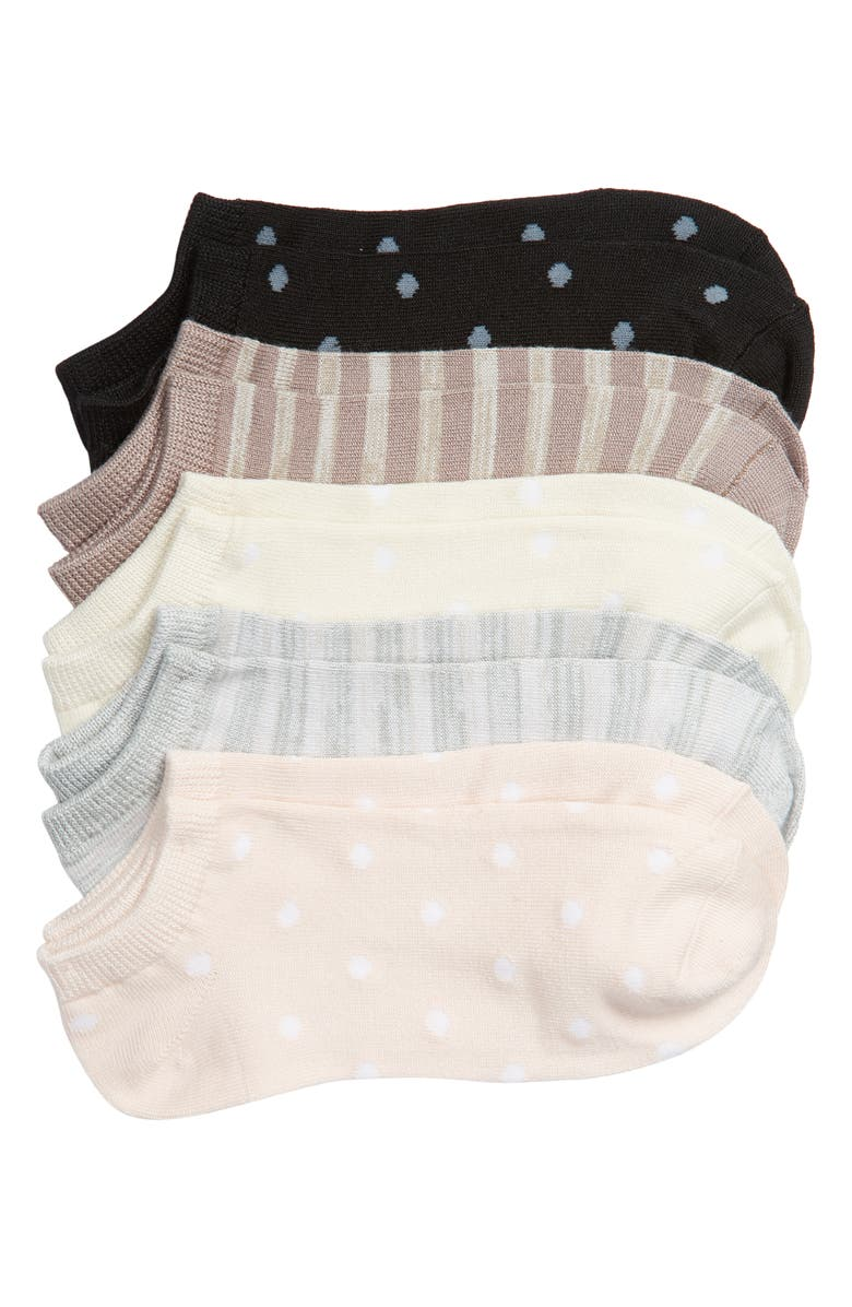NORDSTROM Dots & Stripes Assorted 6-Pack Low-Cut Socks, Main, color, PEACH MULTI
