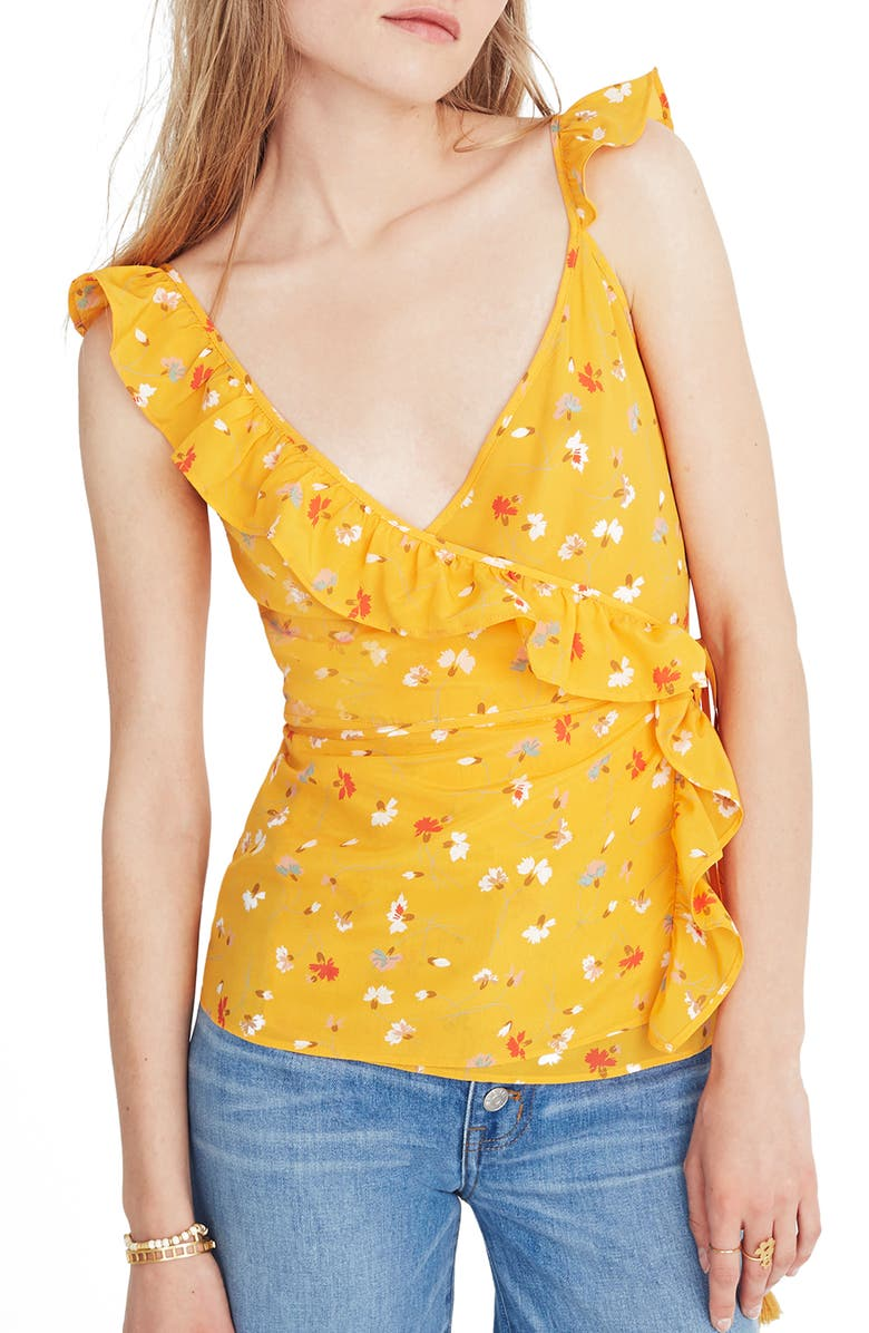 MADEWELL Silk Wrap Camisole Top, Main, color, 700