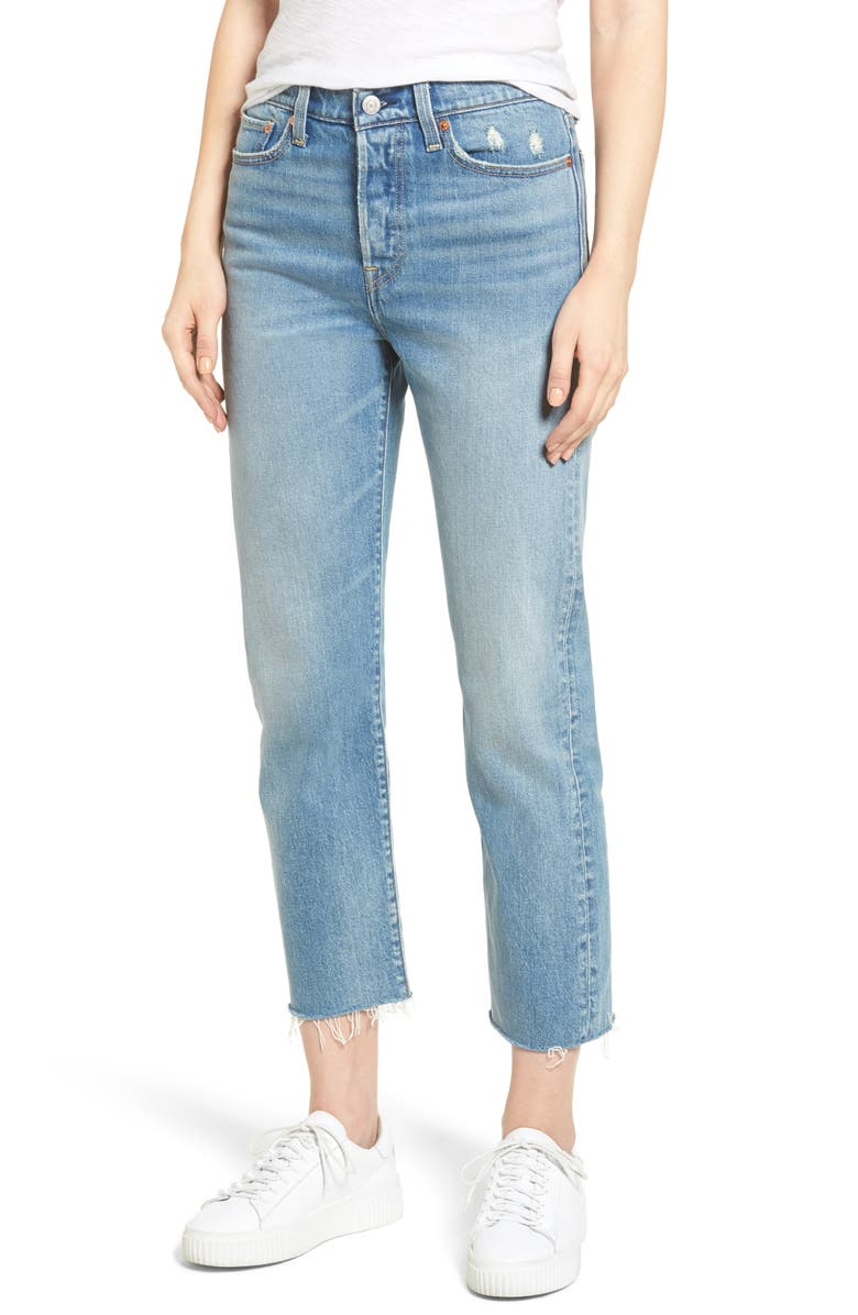 LEVI'S<SUP>®</SUP> Wedgie Straight Leg Crop Jeans, Main, color, 450