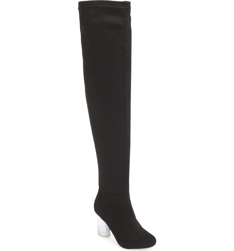 JEFFREY CAMPBELL 'Paradox' Over the Knee Boot, Main, color, BLACK SUEDE