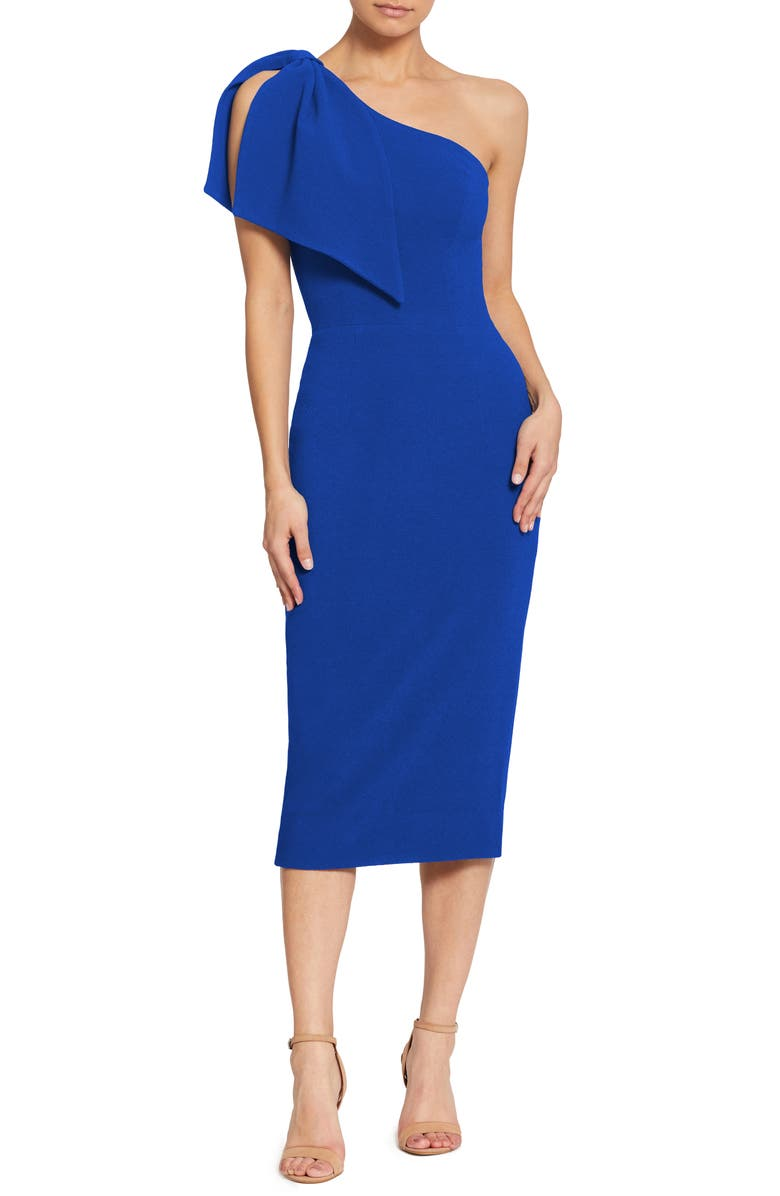 DRESS THE POPULATION Tiffany One-Shoulder Midi Dress, Main, color, 430