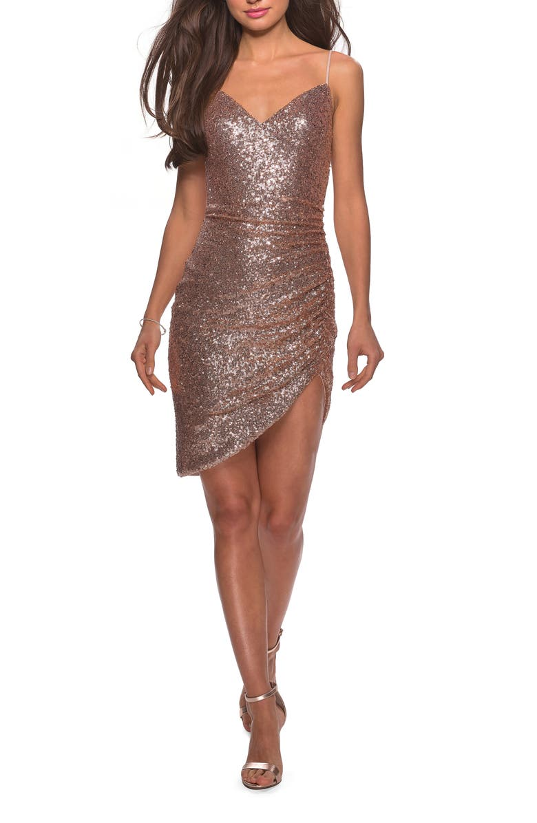 LA FEMME Ruched Sequin Cocktail Dress, Main, color, ROSE GOLD