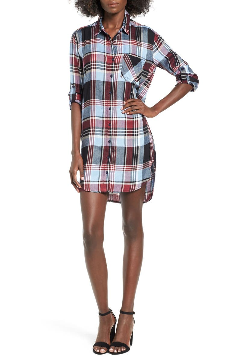SP BLACK Plaid Shirtdress, Main, color, 400