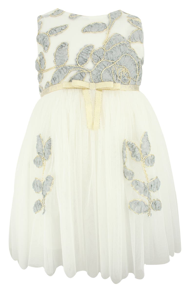 POPATU Floral Embroidered Tulle Dress, Main, color, GREY/ WHITE