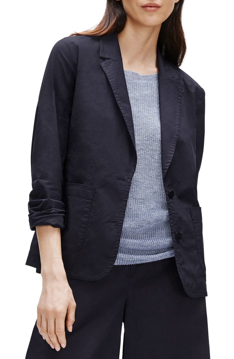 EILEEN FISHER Notch Collar Shaped Jacket, Main, color, INK