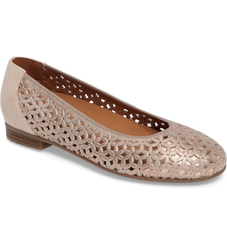ARA Stephanie Perforated Ballet Flat, Main, color, ROSE GOLD LEATHER