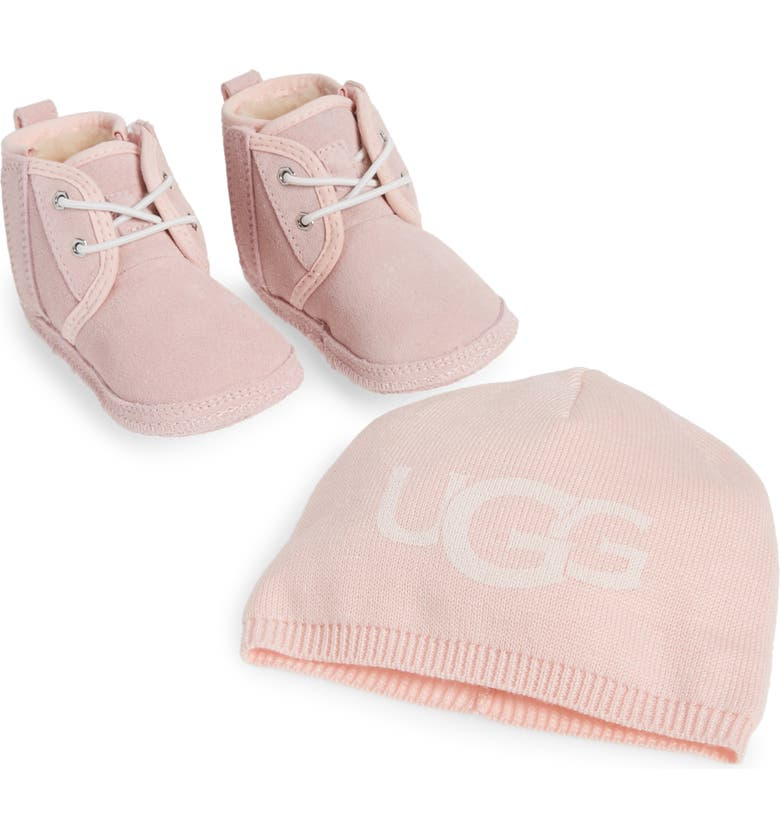 UGG<SUP>®</SUP> Baby Neumel Boot & Beanie Set, Main, color, SEASHELL PINK