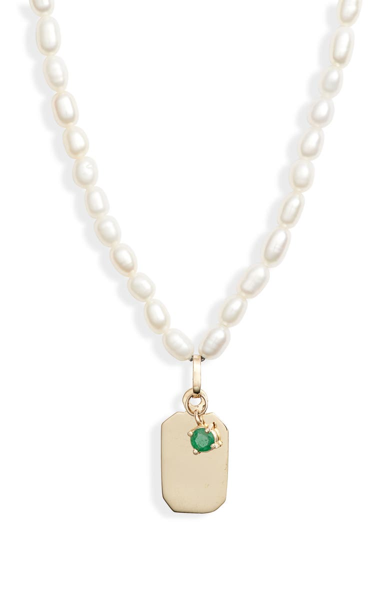 LOREN STEWART ID Tag Pearl Necklace, Main, color, 710