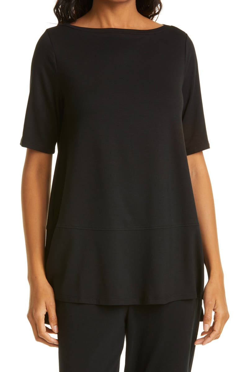 EILEEN FISHER Boatneck Jersey Top, Main, color, BLACK