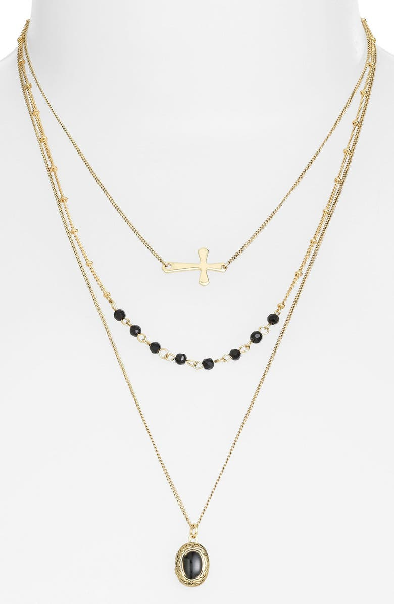 STEPHAN & CO. Multistrand Charm Necklace, Main, color, Gold