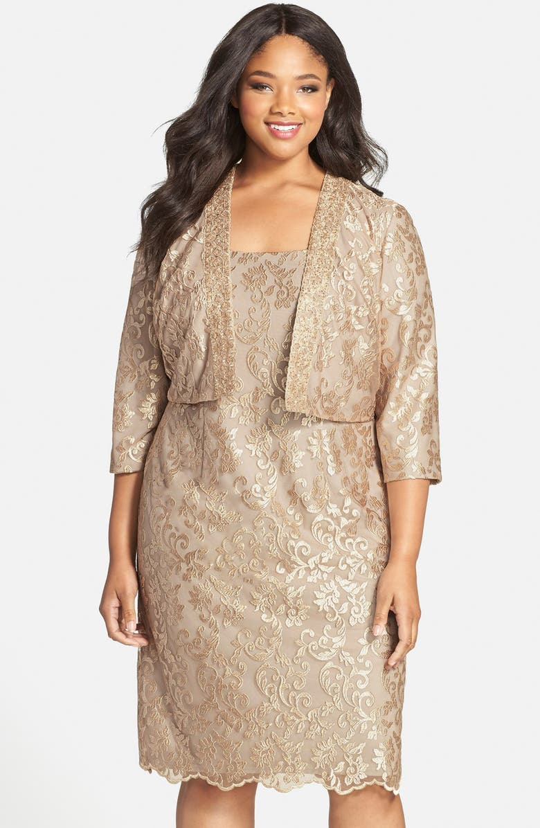 ALEX EVENINGS Embroidered Cocktail Dress with Embellished Bolero Jacket, Main, color, CHAMPAGNE