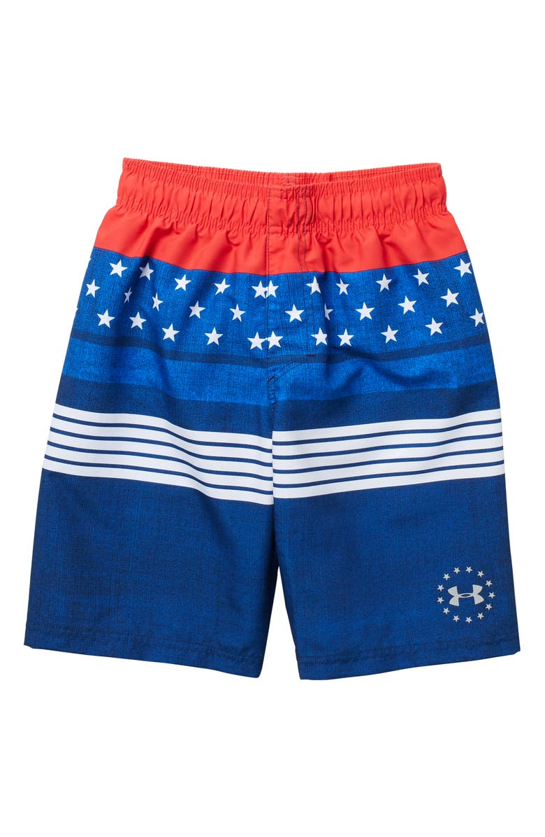 UNDER ARMOUR Printed Swim Shorts, Main, color, ACADEMY
