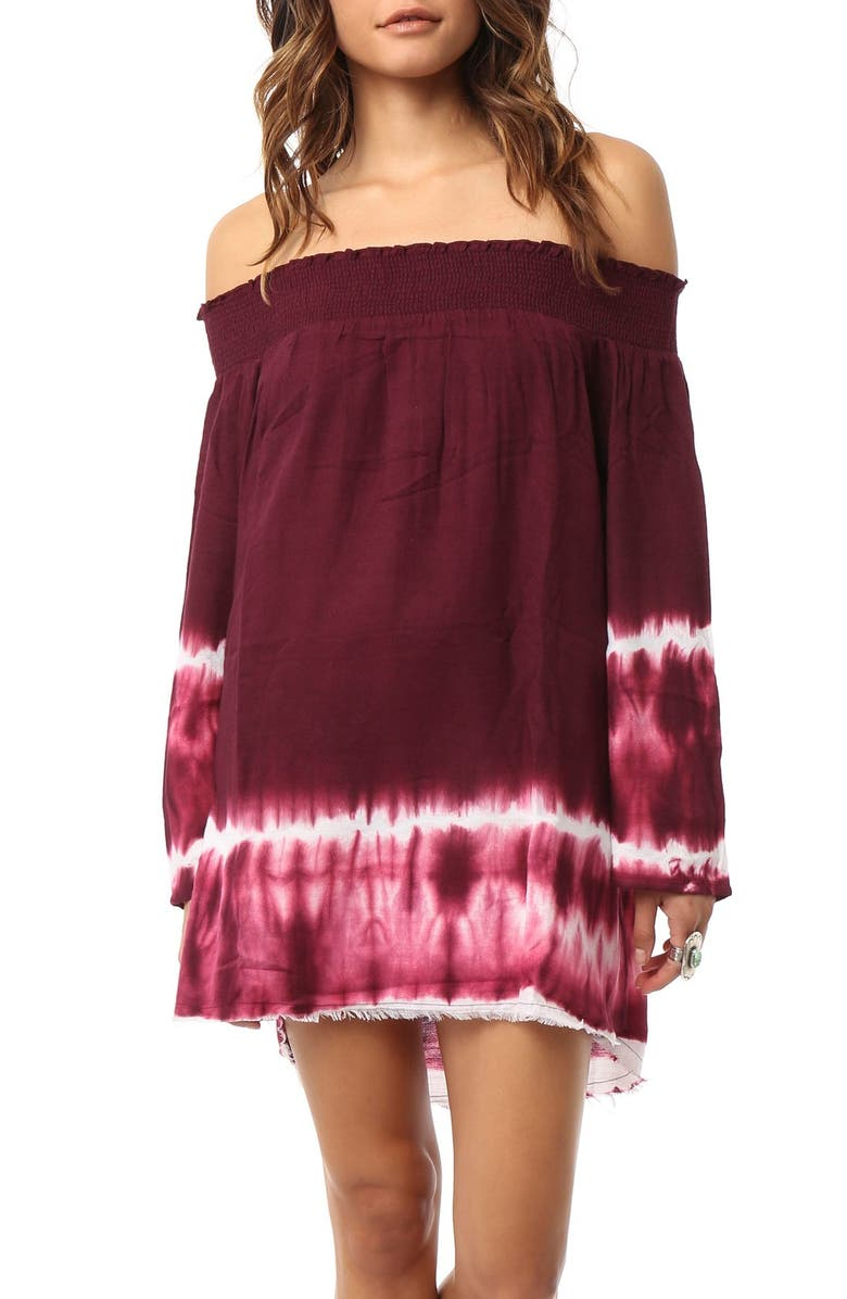 O'NEILL 'Madison' Tie Dye Off the Shoulder Cover-Up, Main, color, BORDEAUX