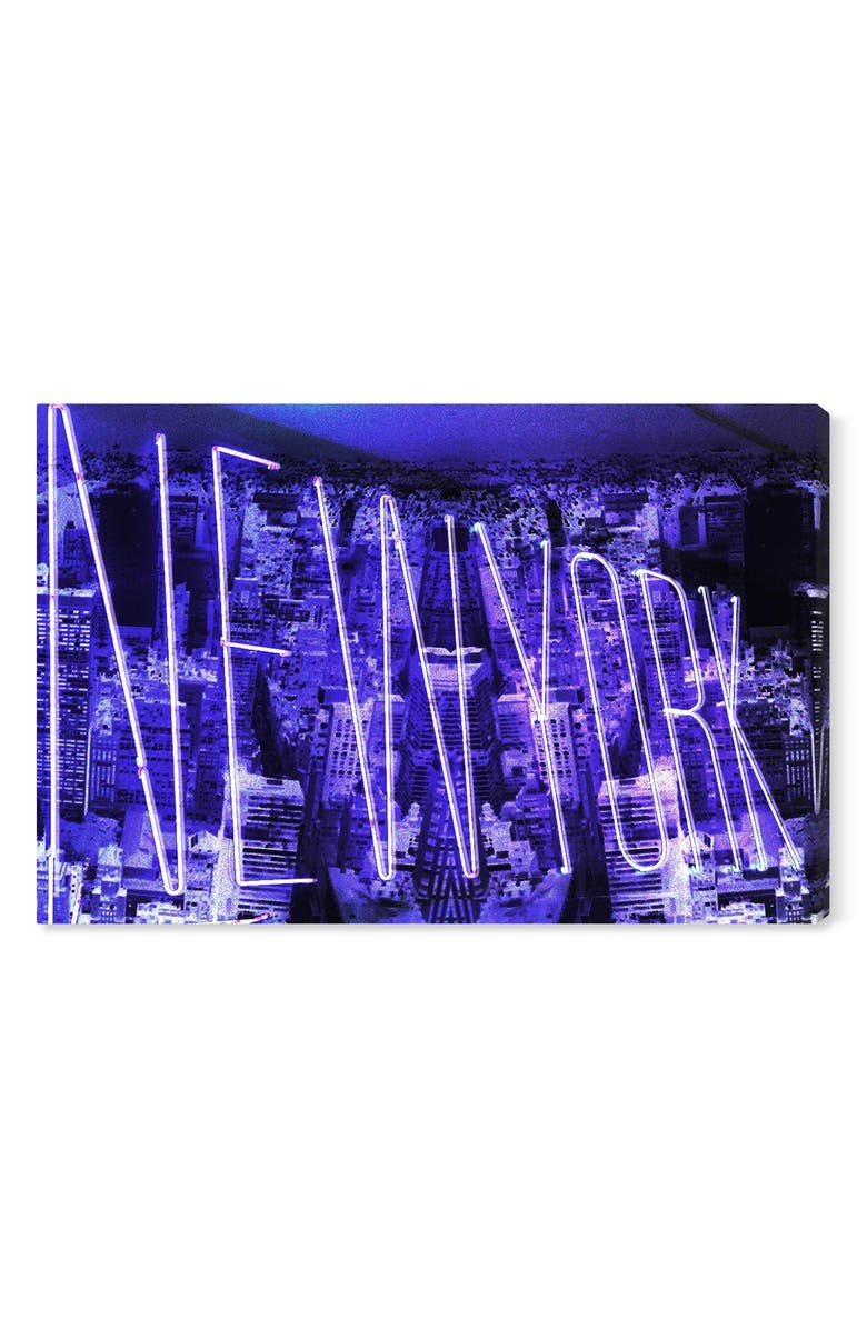 OLIVER GAL Neon New York City Canvas Wall Art, Main, color, PURPLE