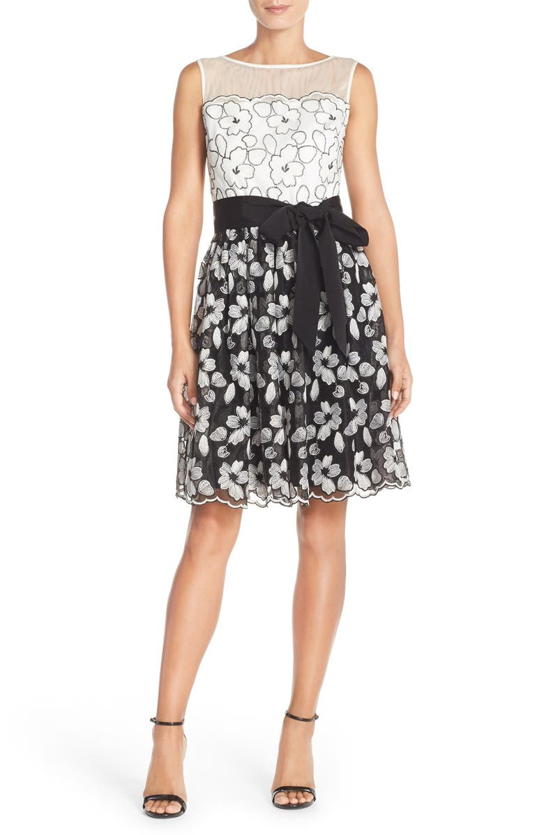 ELLEN TRACY Floral Lace Overlay Fit & Flare Dress with Illusion Neckline, Main, color, 008