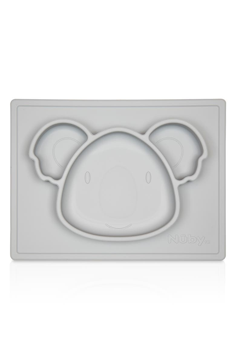 NUBY Sure Grip  Silicone Placemat - Grey Koala, Main, color, GRAY