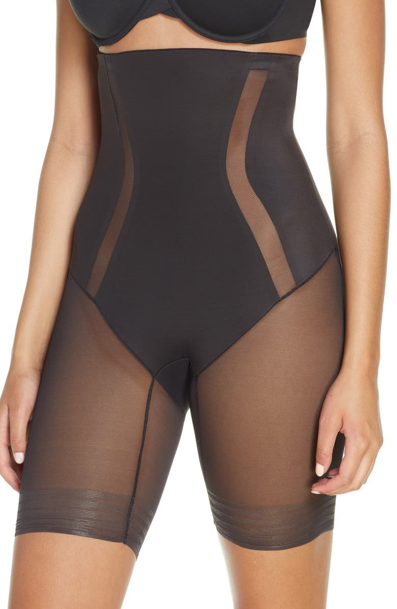 TC Middle Manager High Waist Thigh Slimmer, Main, color, Black