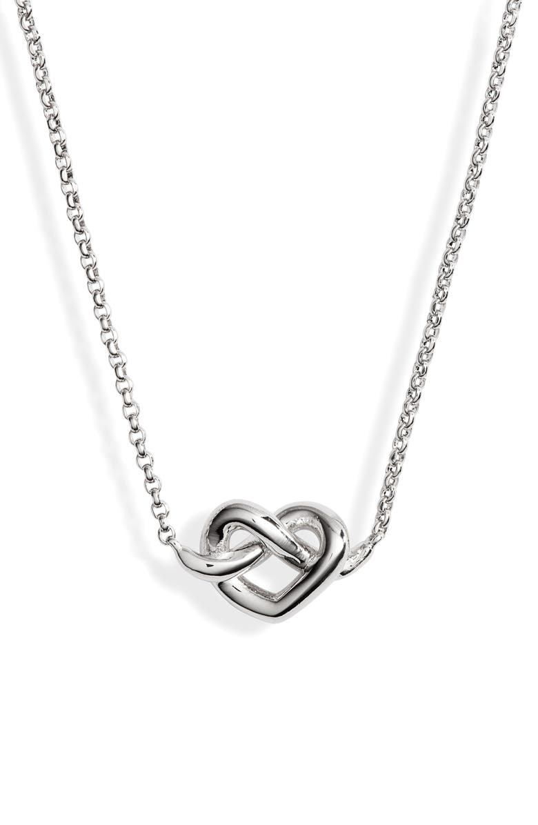KATE SPADE NEW YORK loves me knot mini pendant necklace, Main, color, SILVER