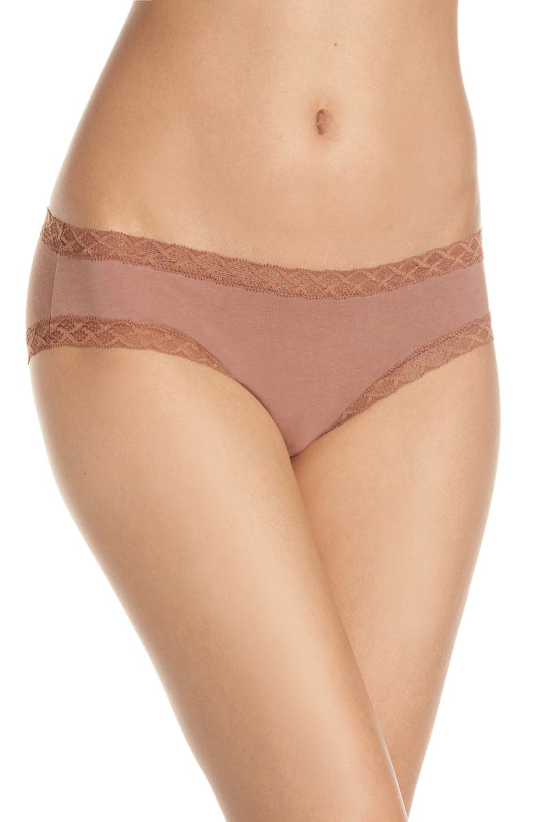 NATORI Bliss Cotton Girl Briefs, Main, color, CINNAMON