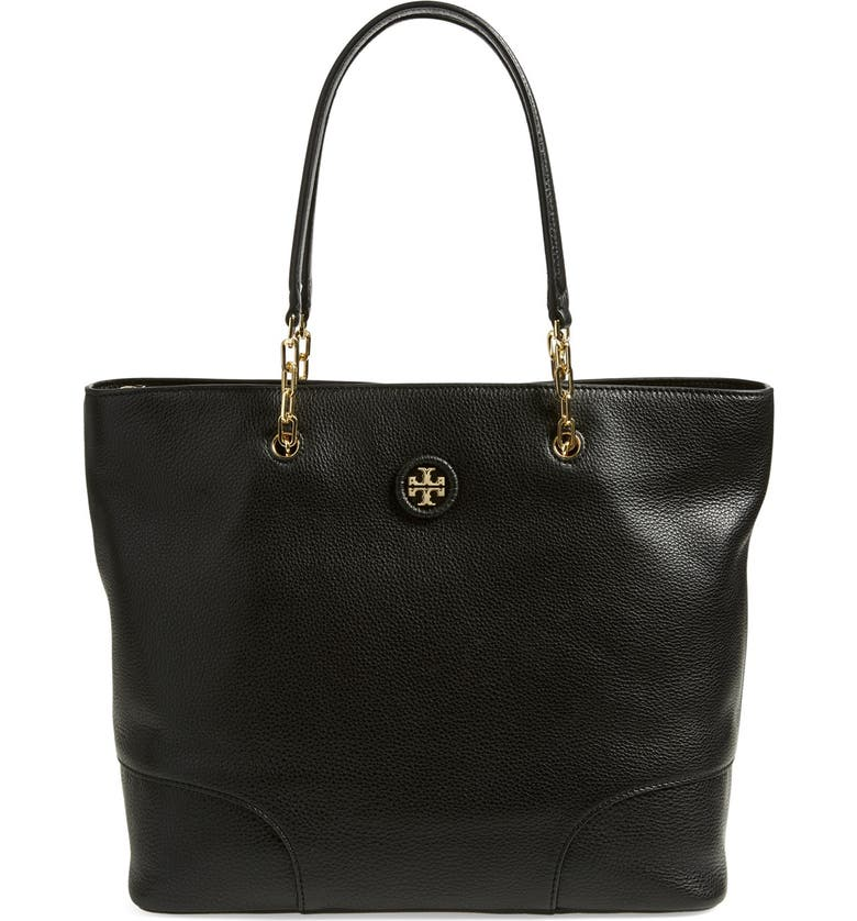 TORY BURCH Pebbled Leather Tote, Main, color, Black