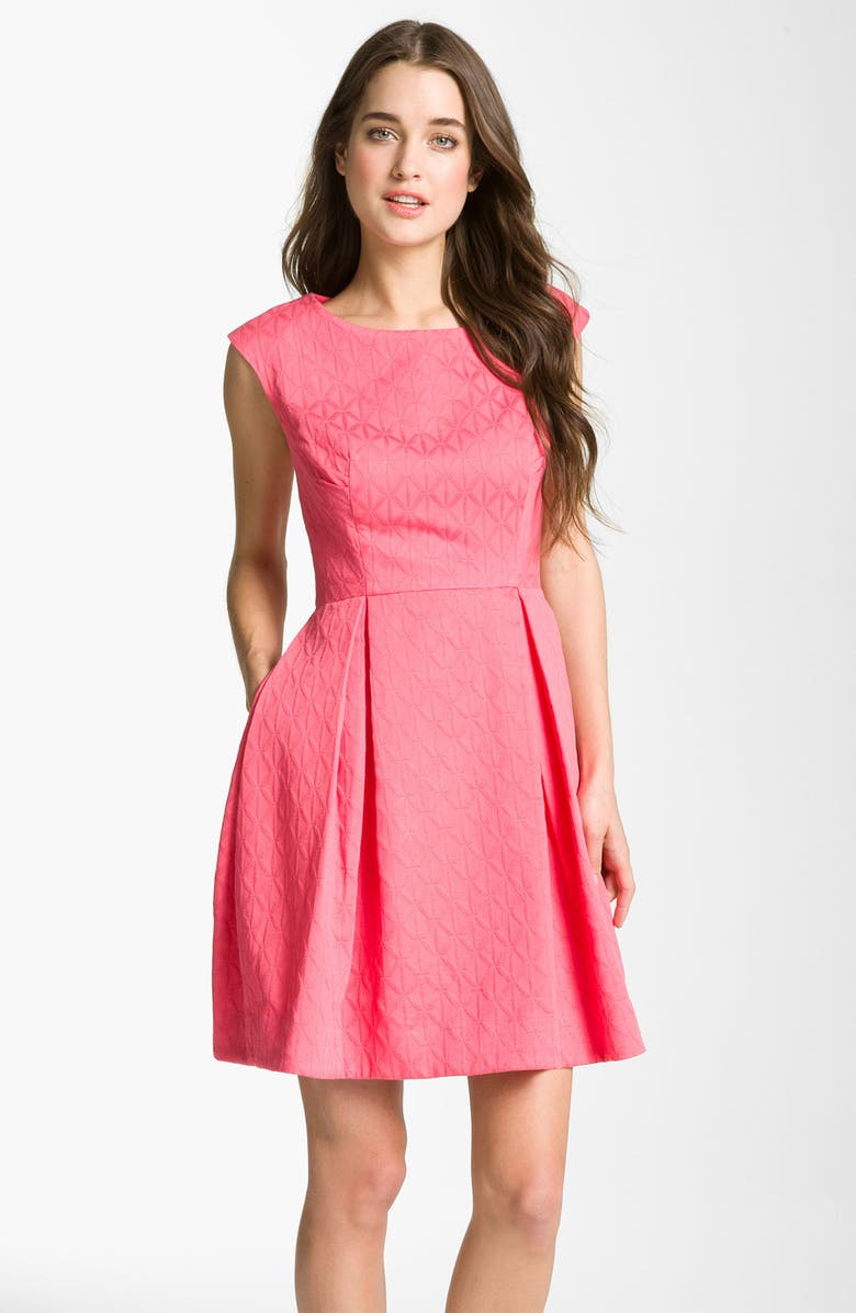 TAYLOR DRESSES Cotton Jacquard Fit & Flare Dress, Main, color, 687