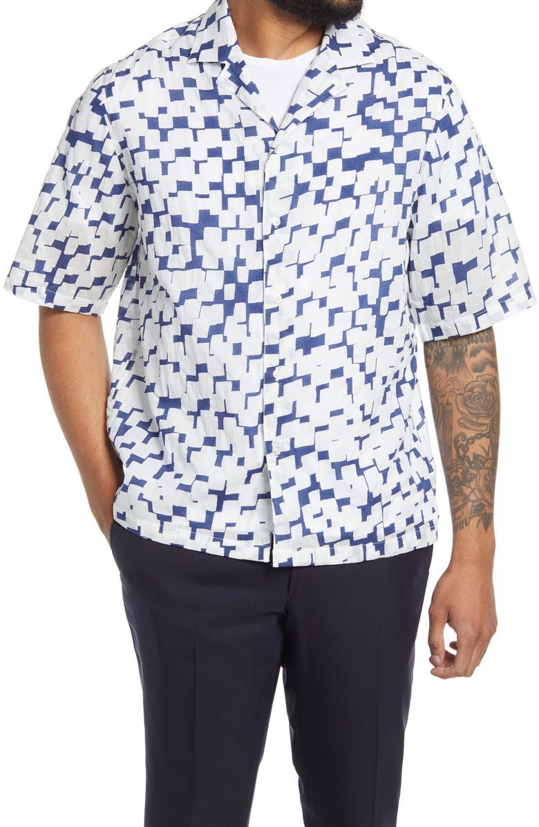 OFFICINE GÉNÉRALE Eren Slim Fit Short Sleeve Button-Up Shirt, Main, color, BLUE/ WHITE