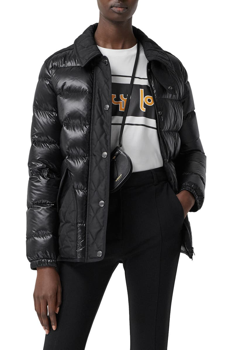 BURBERRY Newry Down Puffer Jacket, Main, color, BLACK
