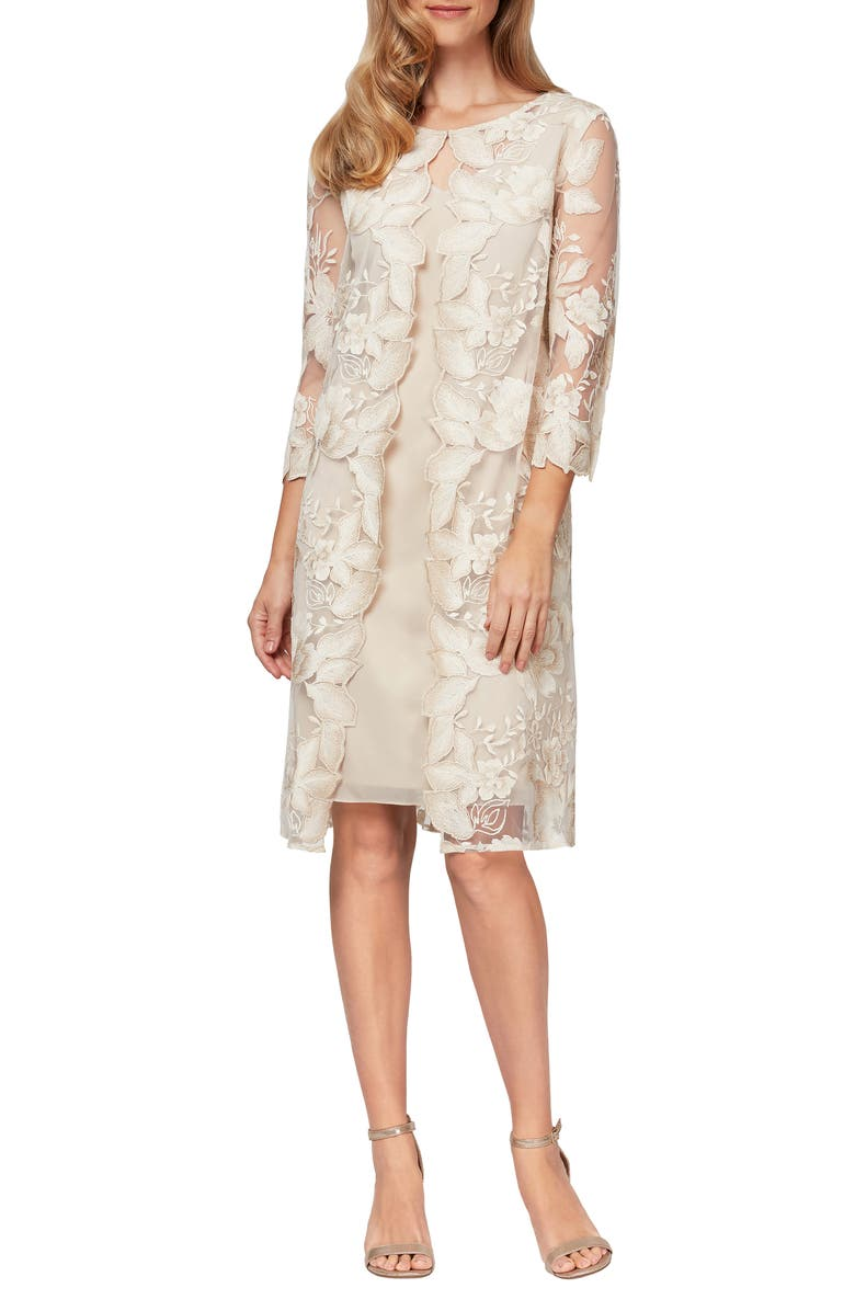 ALEX EVENINGS Embroidered Lace Mock Jacket Cocktail Dress, Main, color, 900