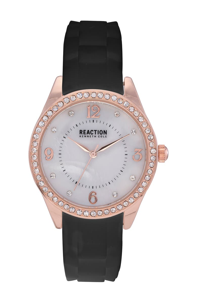KENNETH COLE REACTION Women's Reaction 3 Hands Mother Of Pearl Light Dial Silicone Watch, 36mm, Main, color, BLACK