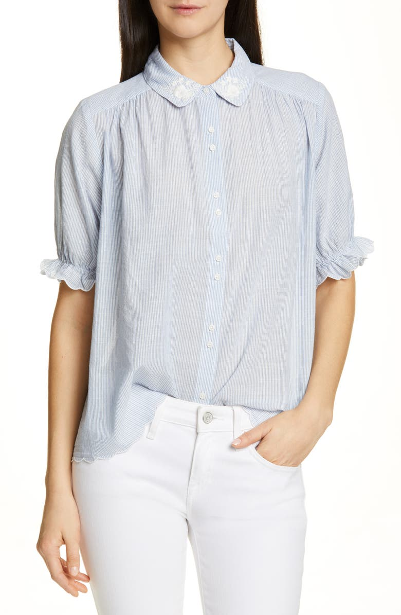THE GREAT. The Kerchief Embroidered Cotton Top, Main, color, CAROLINA STRIPE